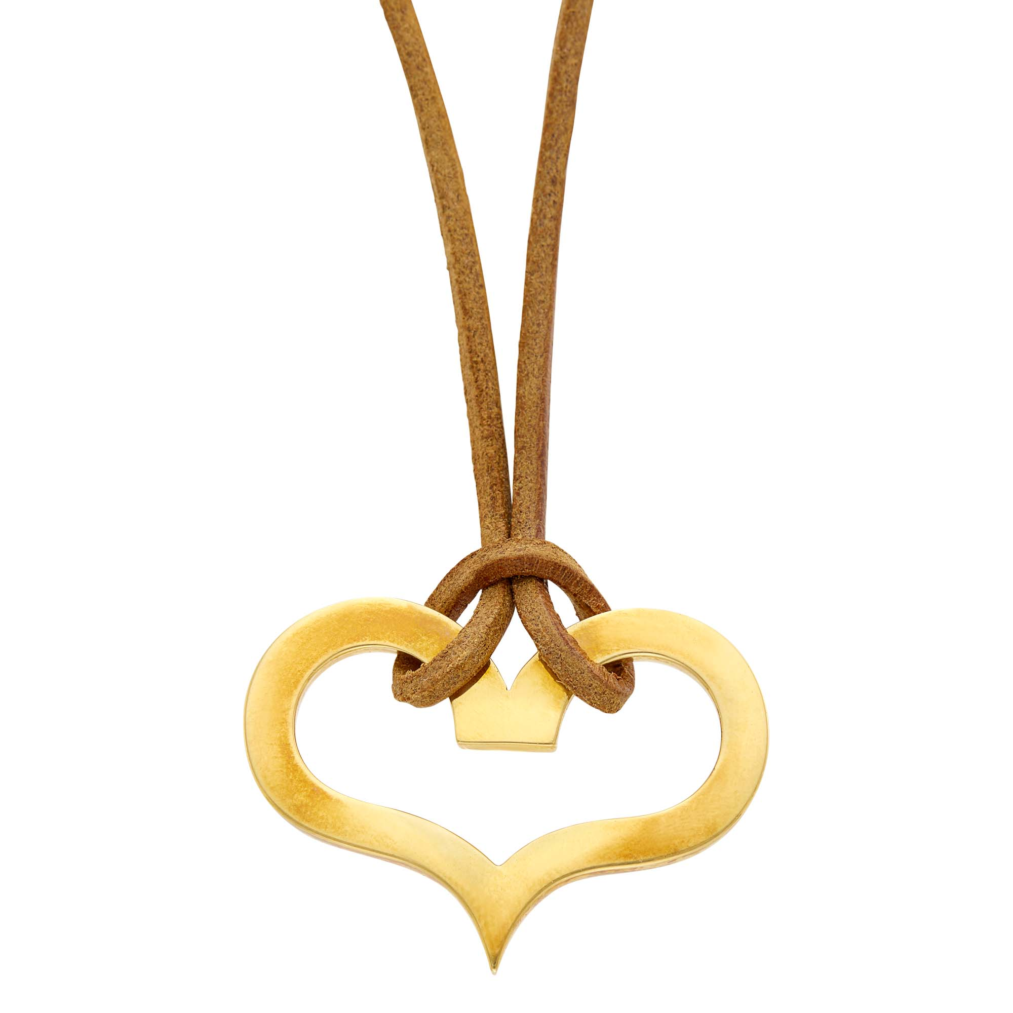 Lot image - Dinh Van Gold Heart Pendant on Cord