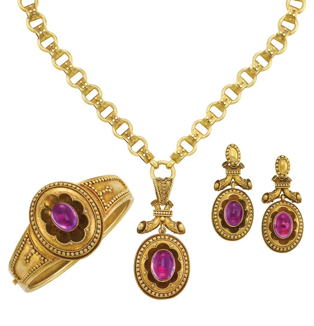 Lot image - Suite of Antique Gold and Amethyst Jewelry