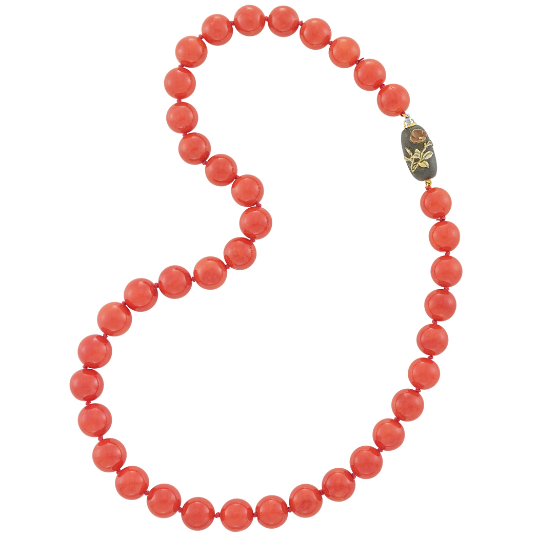 Lot image - Coral Bead Necklace with Oxidized Silver & Gold Clasp, Gumps