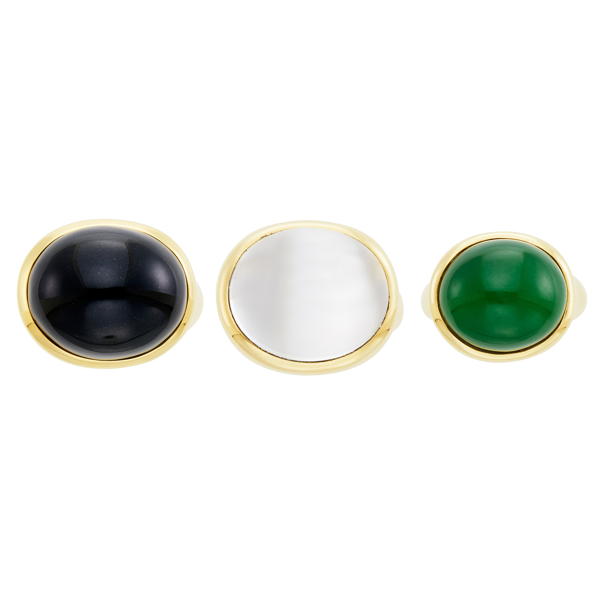 Lot image - Tiffany & Co, Elsa Peretti Three Gold, Black Jade, Nephrite and Rock Crystal Cabochon Rings