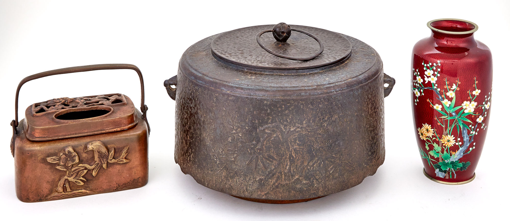 Lot image - Japanese Iron Hibachi Cooler and Cover; Together with a Bronze Hand Warmer and Cloisonné Enamel Vase