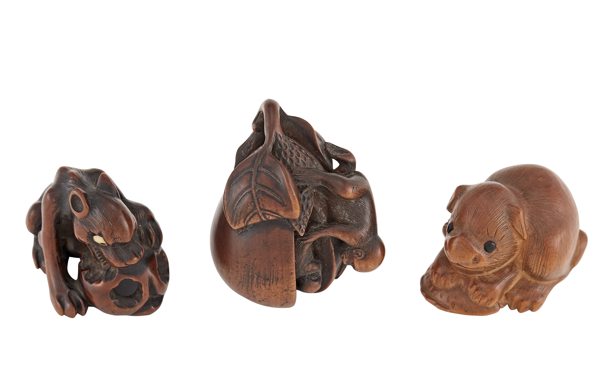 Lot image - Group of Three Japanese Boxwood Netsuke