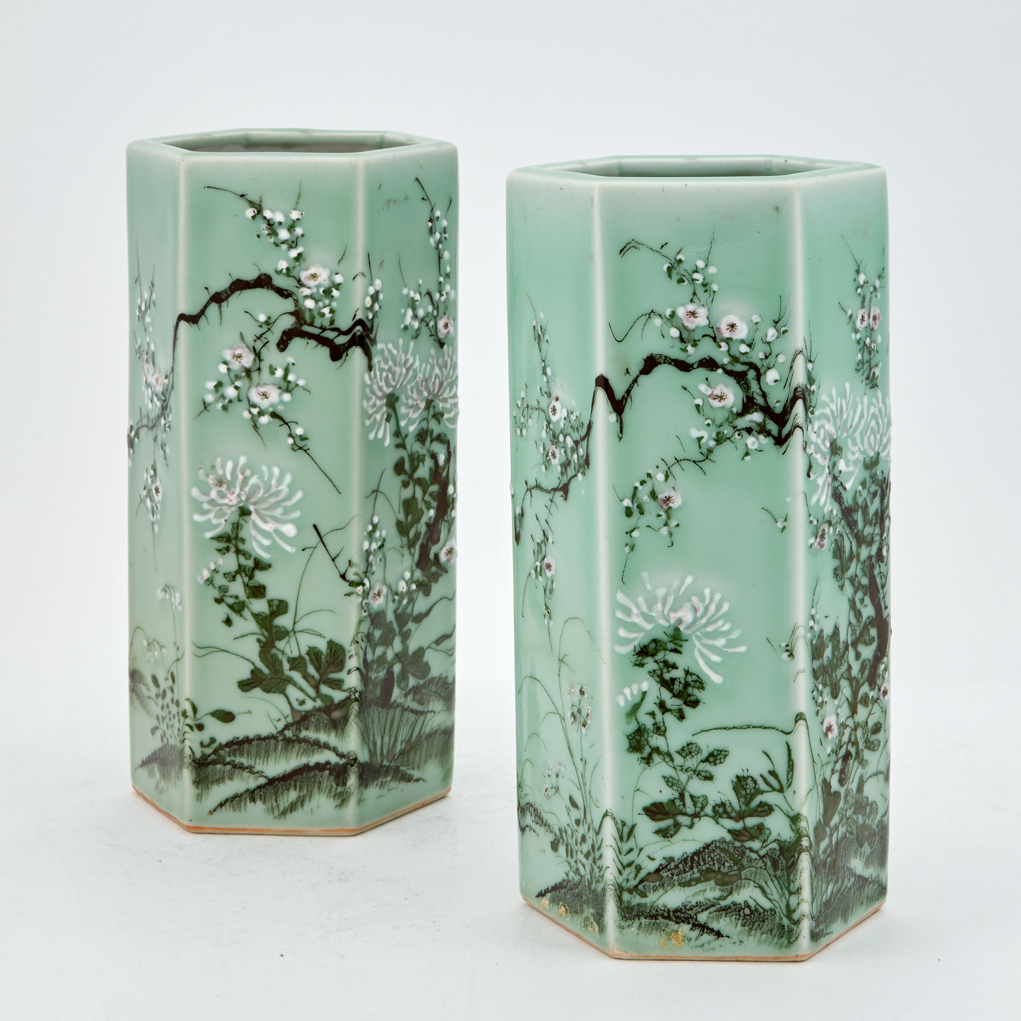 Lot image - Pair of Chinese Green Ground Porcelain Hexagonal Vases