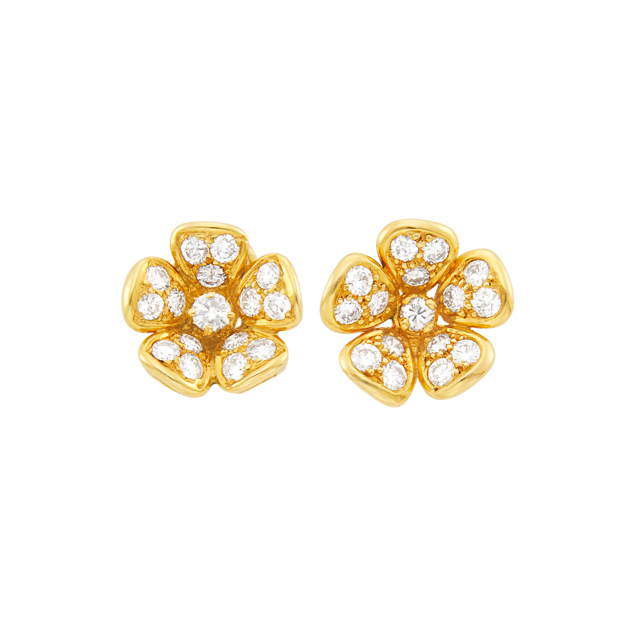 Lot image - Van Cleef & Arpels Pair of Gold and Diamond Flower Earrings