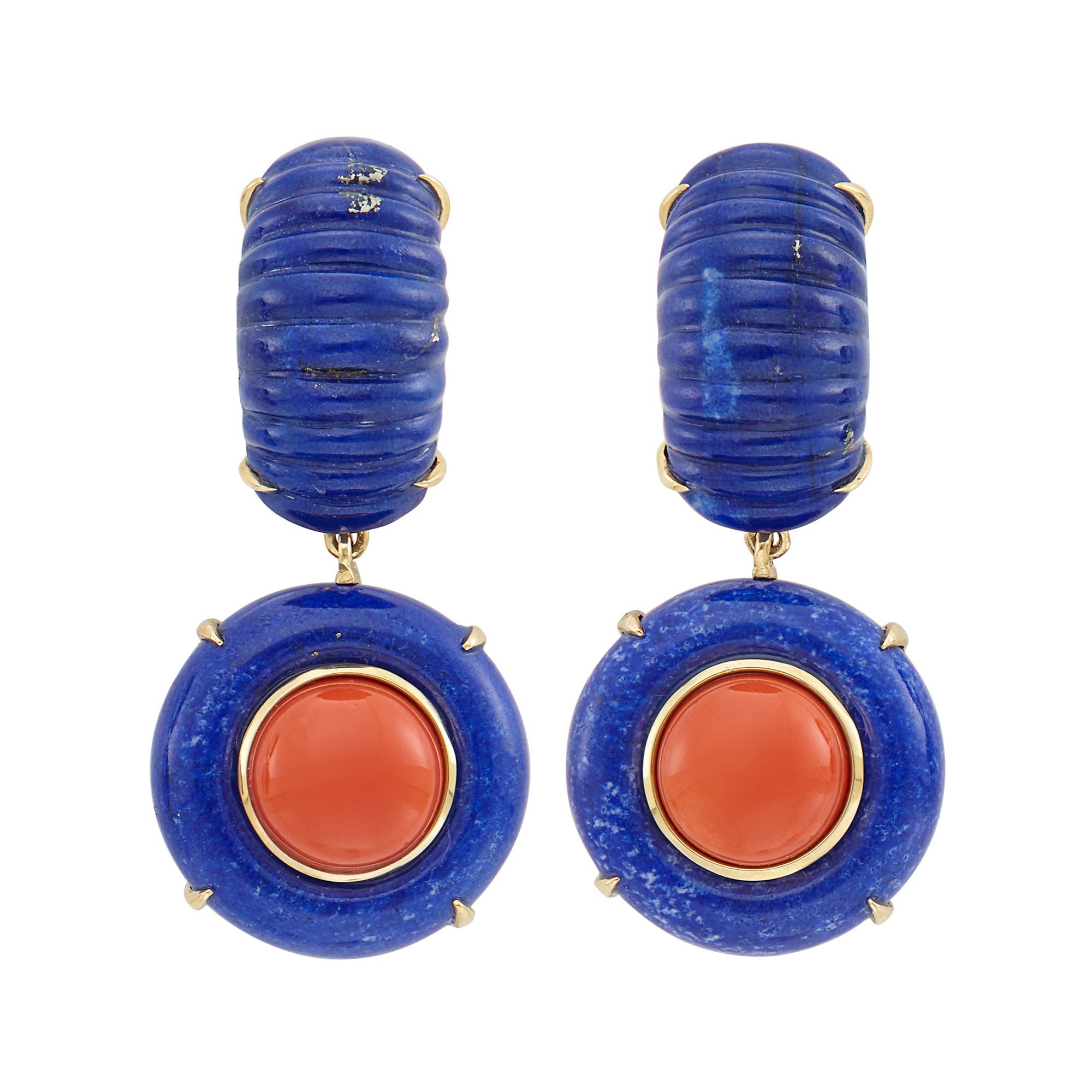 Lot image - Pair of Gold, Lapis and Coral Pendant-Earclips