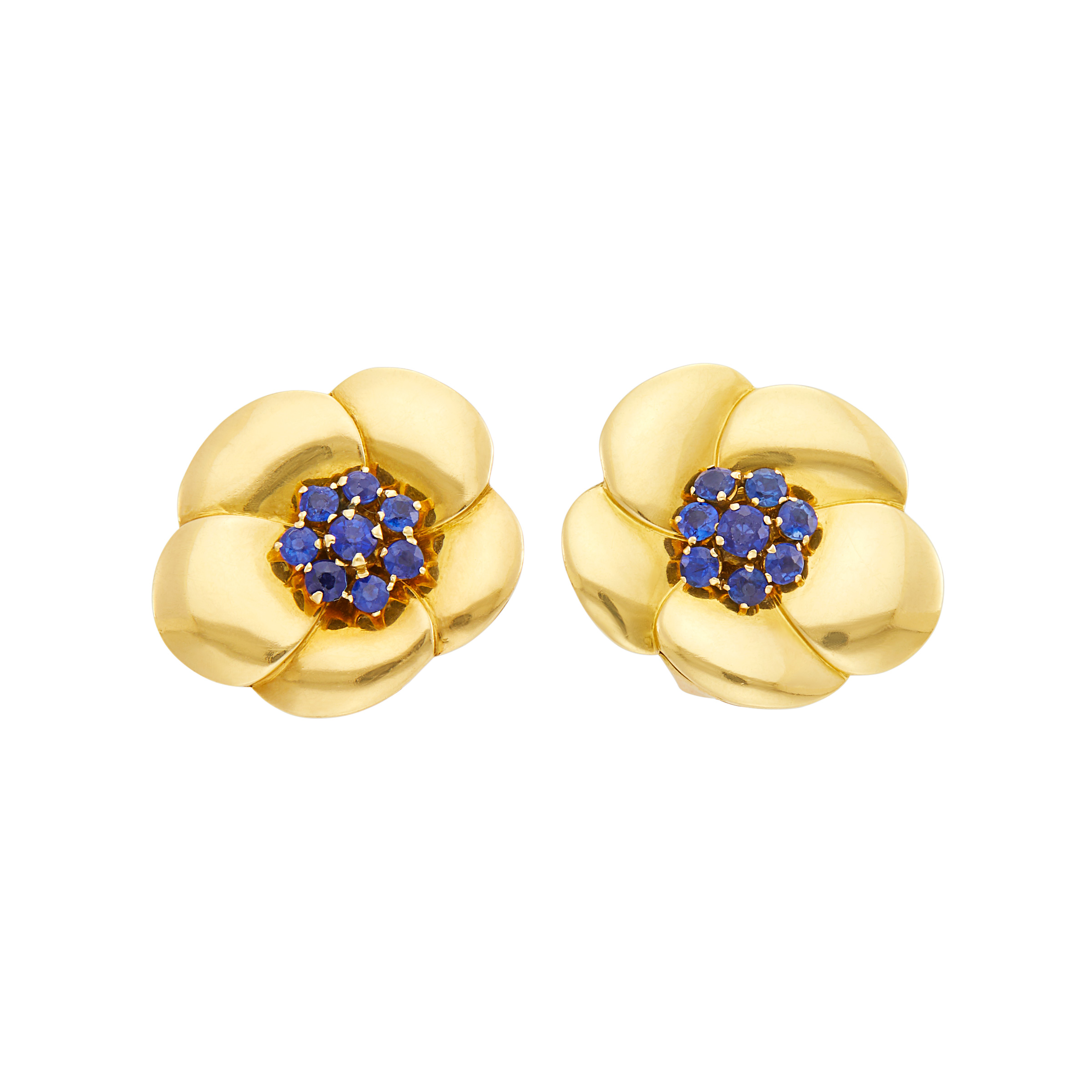 Lot image - Van Cleef & Arpels Pair of Gold and Sapphire Flower Earclips, France