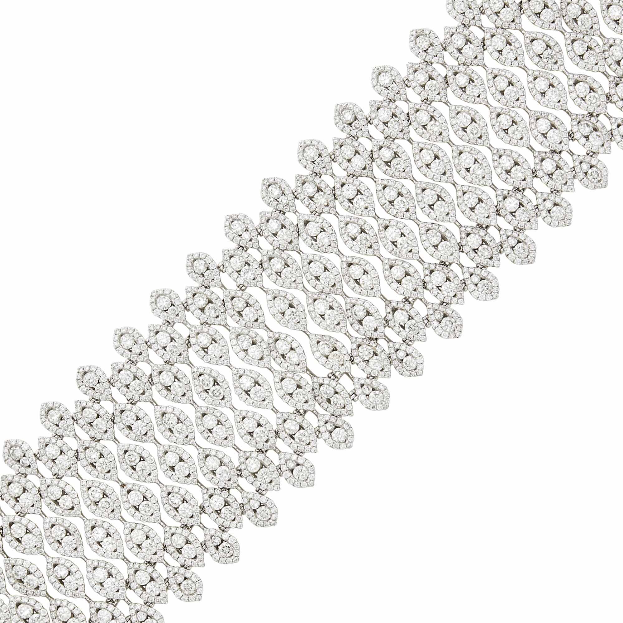 Lot image - Wide White Gold and Diamond Bracelet