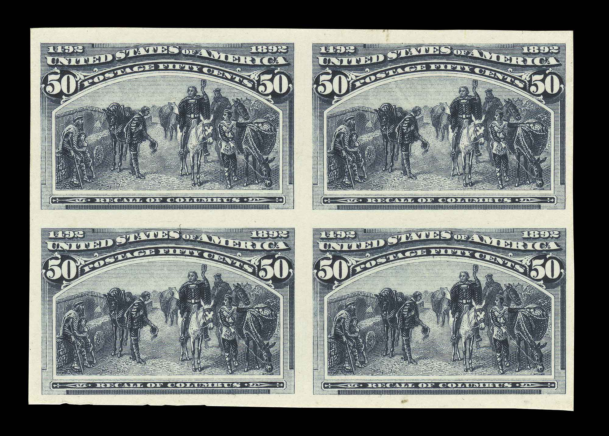 Lot image - United States 1893 50 Cent Columbian Proof Block of Four, Sc. 240-P4