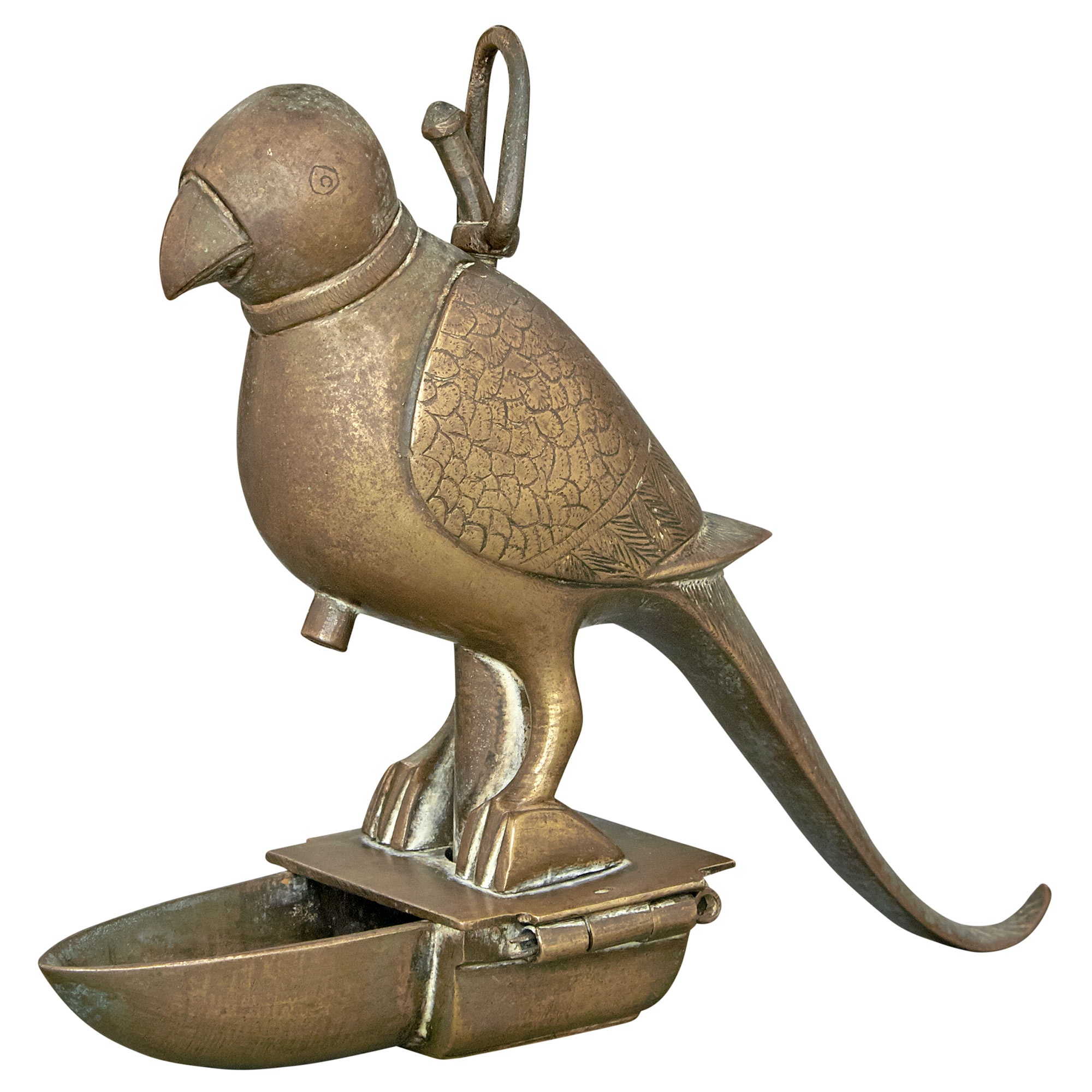 Lot image - Indian Mughal Style Brass Parrot-Form Oil Lamp