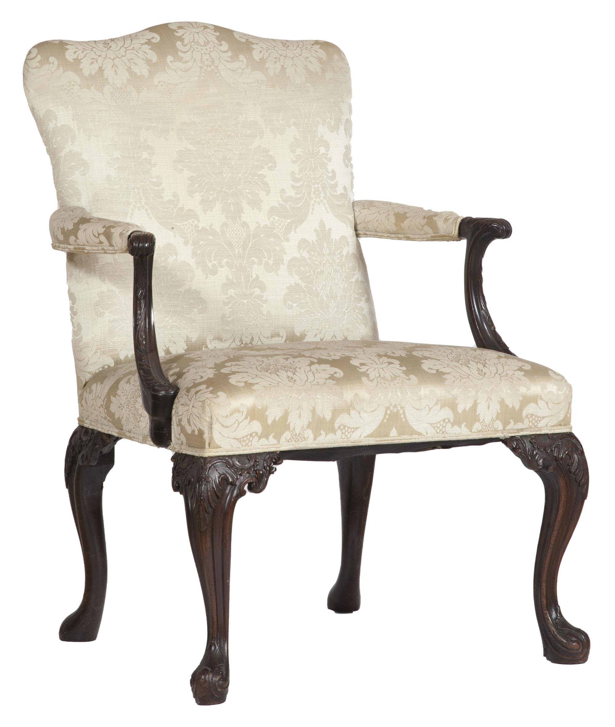 Lot image - George III Carved Mahogany Library Armchair