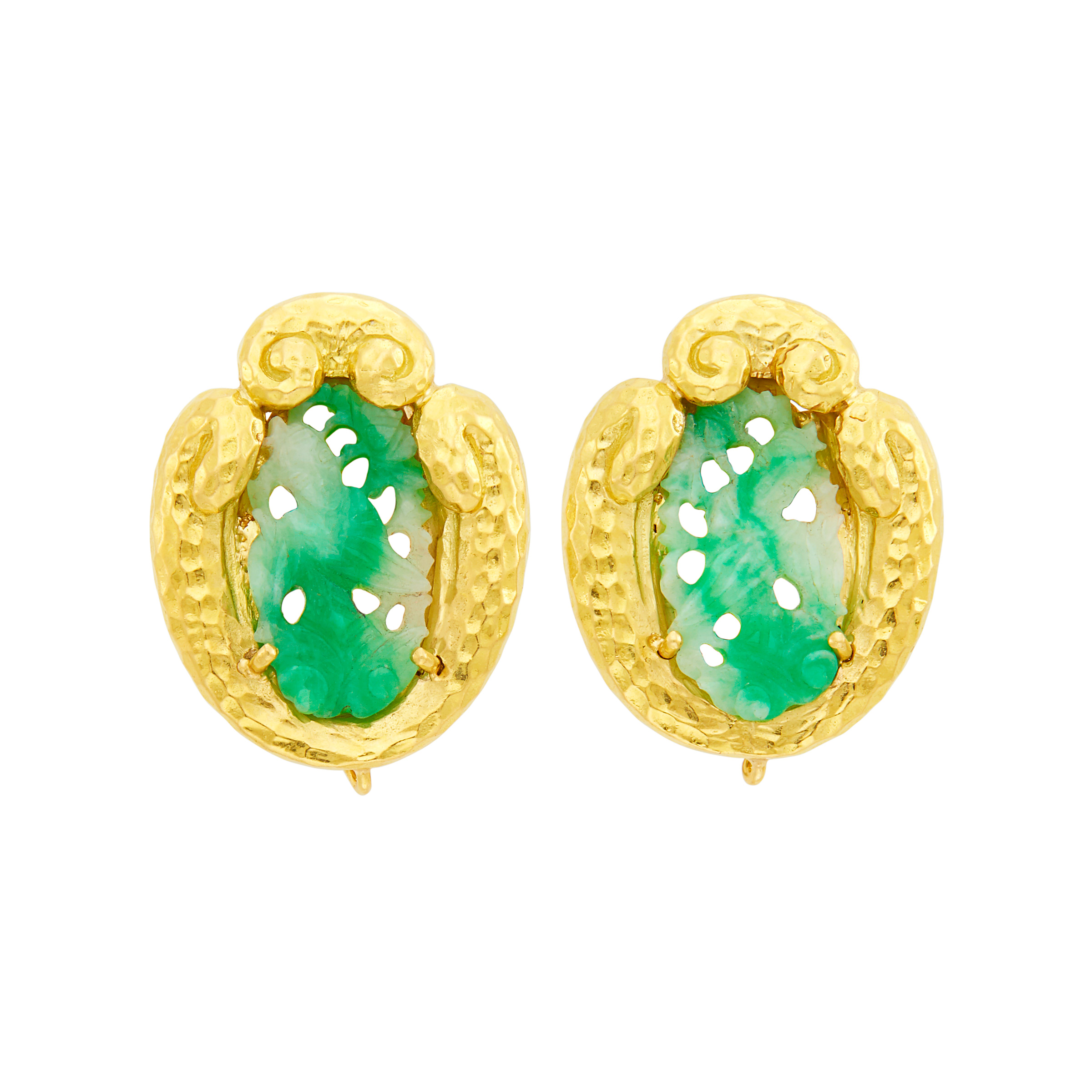 Lot image - David Webb Pair of Hammered Gold and Carved Jade Earclips