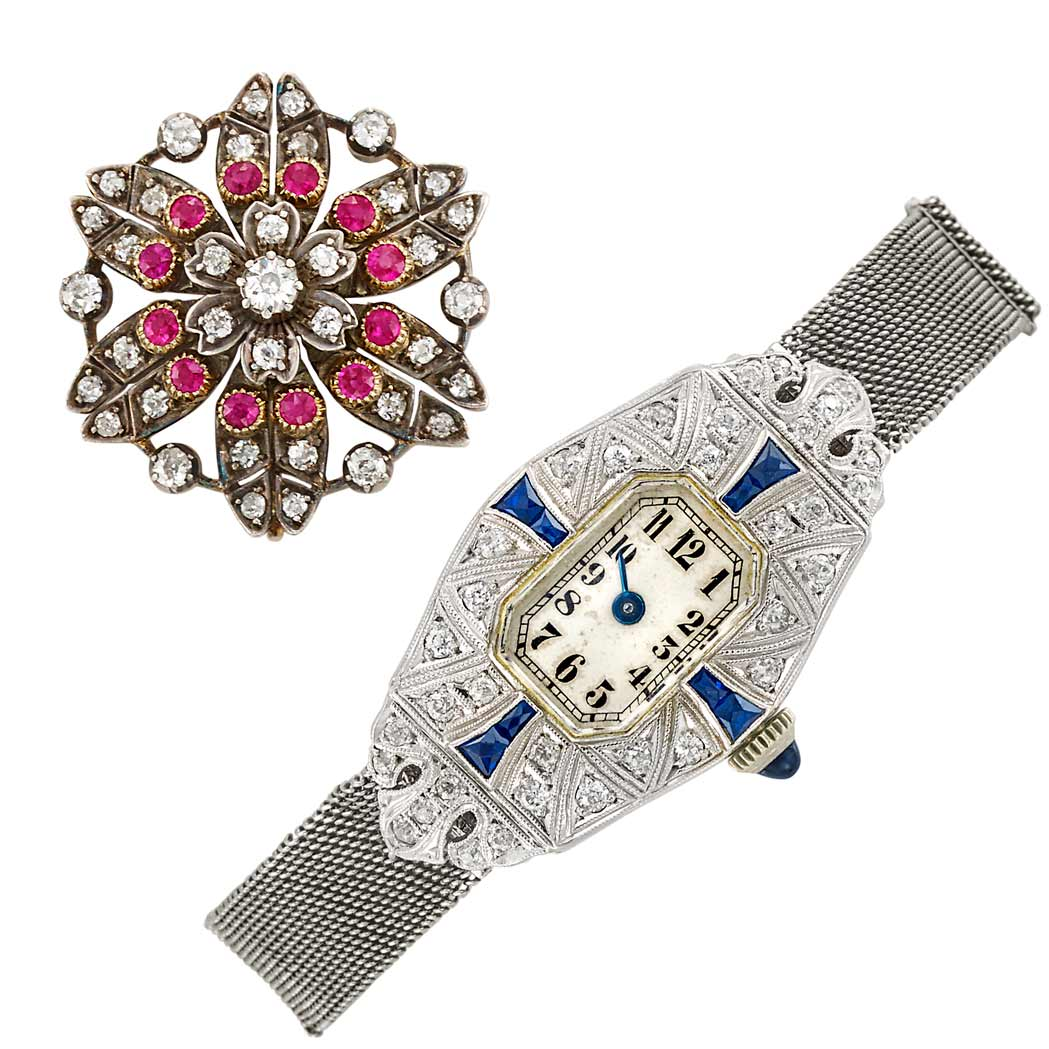 Lot image - Platinum, Low Karat Gold, Diamond and Synthetic Sapphire Wristwatch and Silver, Gold, Diamond and Synthetic Ruby Pin