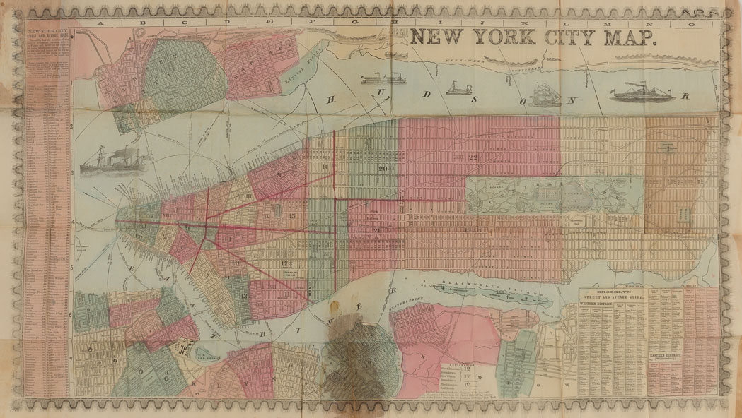 Lot image - [NEW YORK - MAPS, GUIDES & DIRECTORIES]  Group of antiquarian volumes, 1850-1890