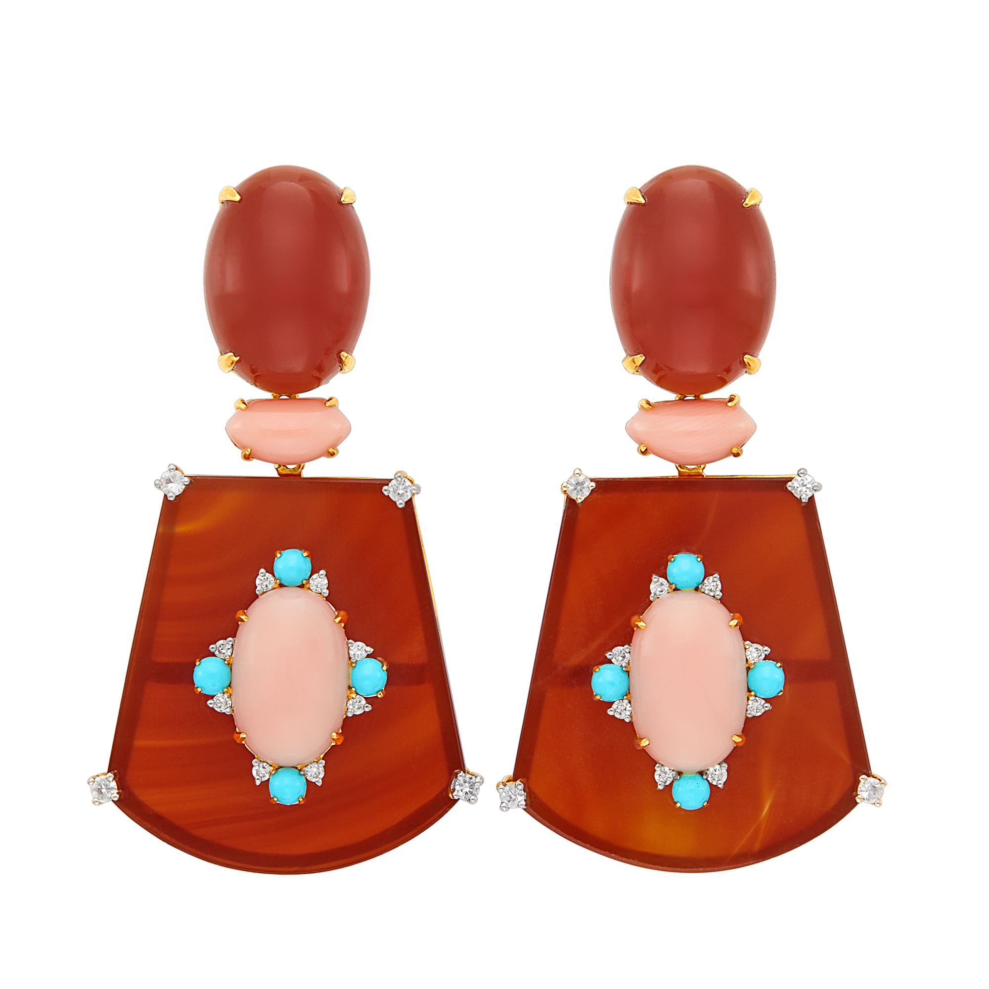 Lot image - Pair of Gold, Carnelian, Angel Skin Coral, Turquoise, White Sapphire and Diamond Pendant-Earclips