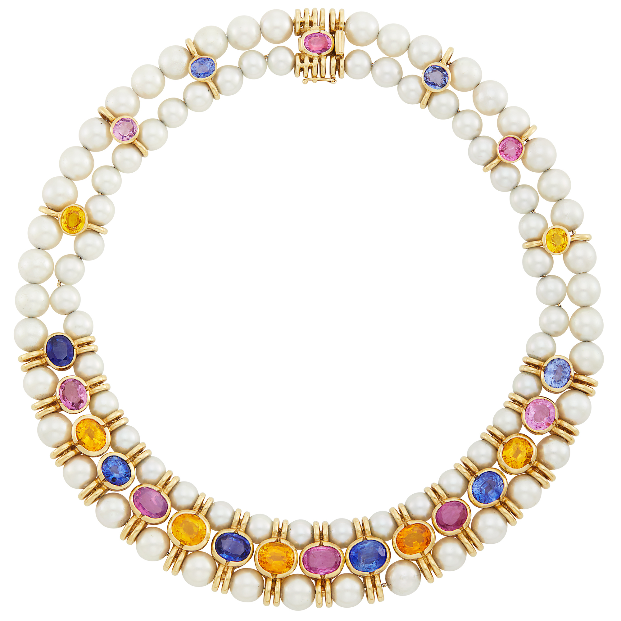Lot image - Double Strand Cultured Pearl, Gold and Multicolored Sapphire Necklace