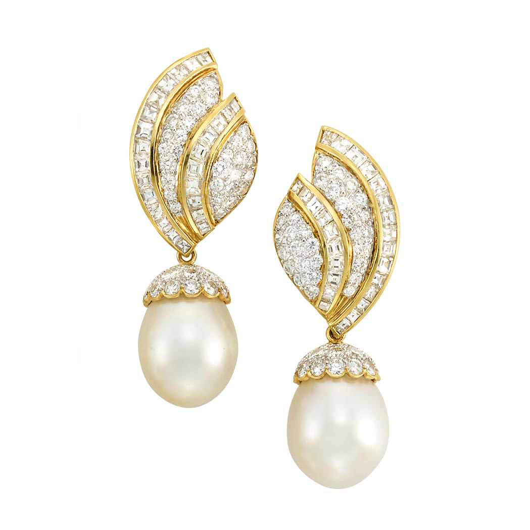 Lot image - Pair of Two-Color Gold, Diamond and South Sea Cultured Pearl Pendant-Earclips and Pair of Ear-Pendants