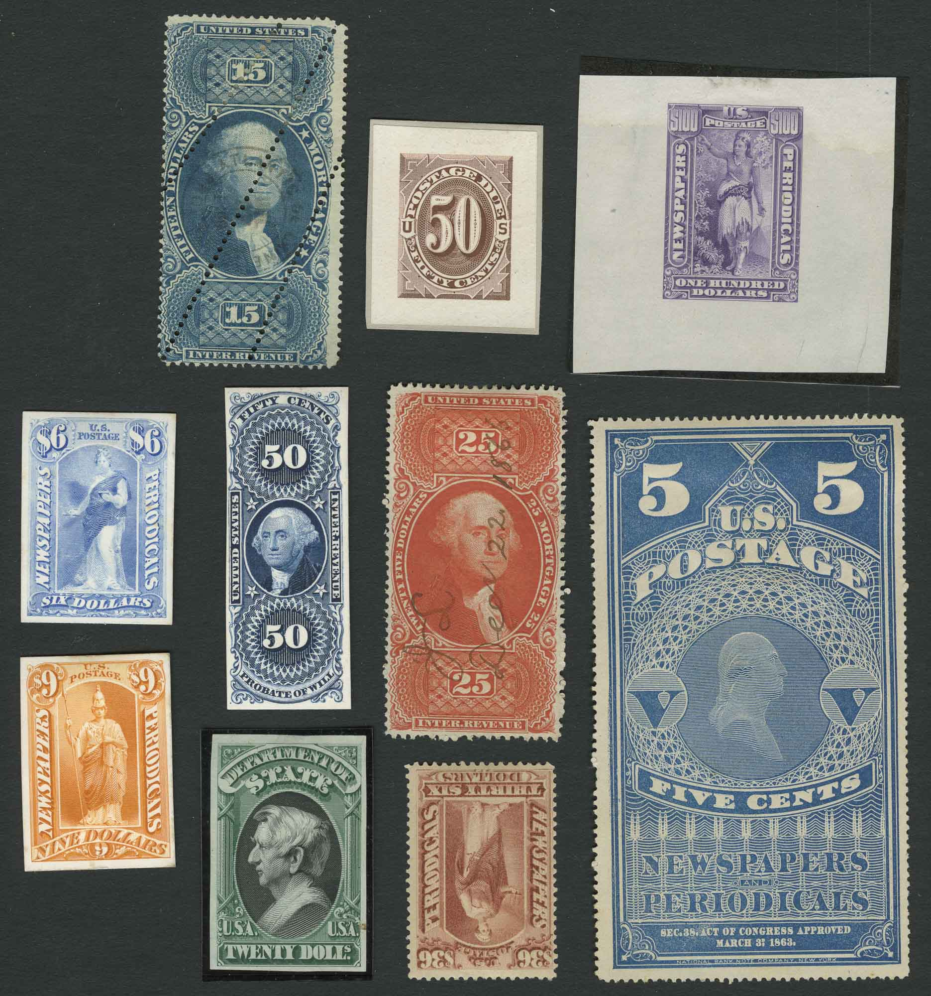 Lot image - United States Revenue Postage Stamp and Proof Lot