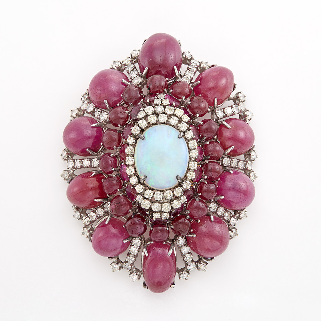 Lot image - White Gold, Opal, Cabochon Ruby and Diamond Brooch