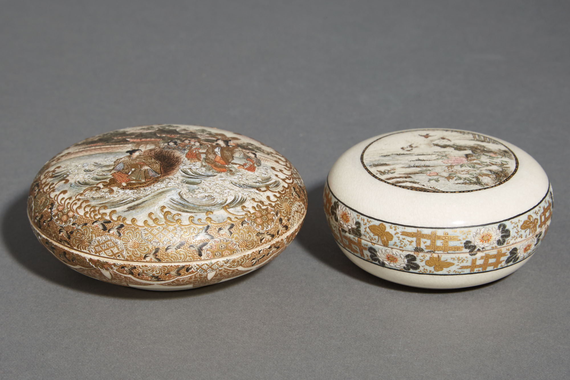 Lot image - Two Japanese Satsuma Covered Boxes