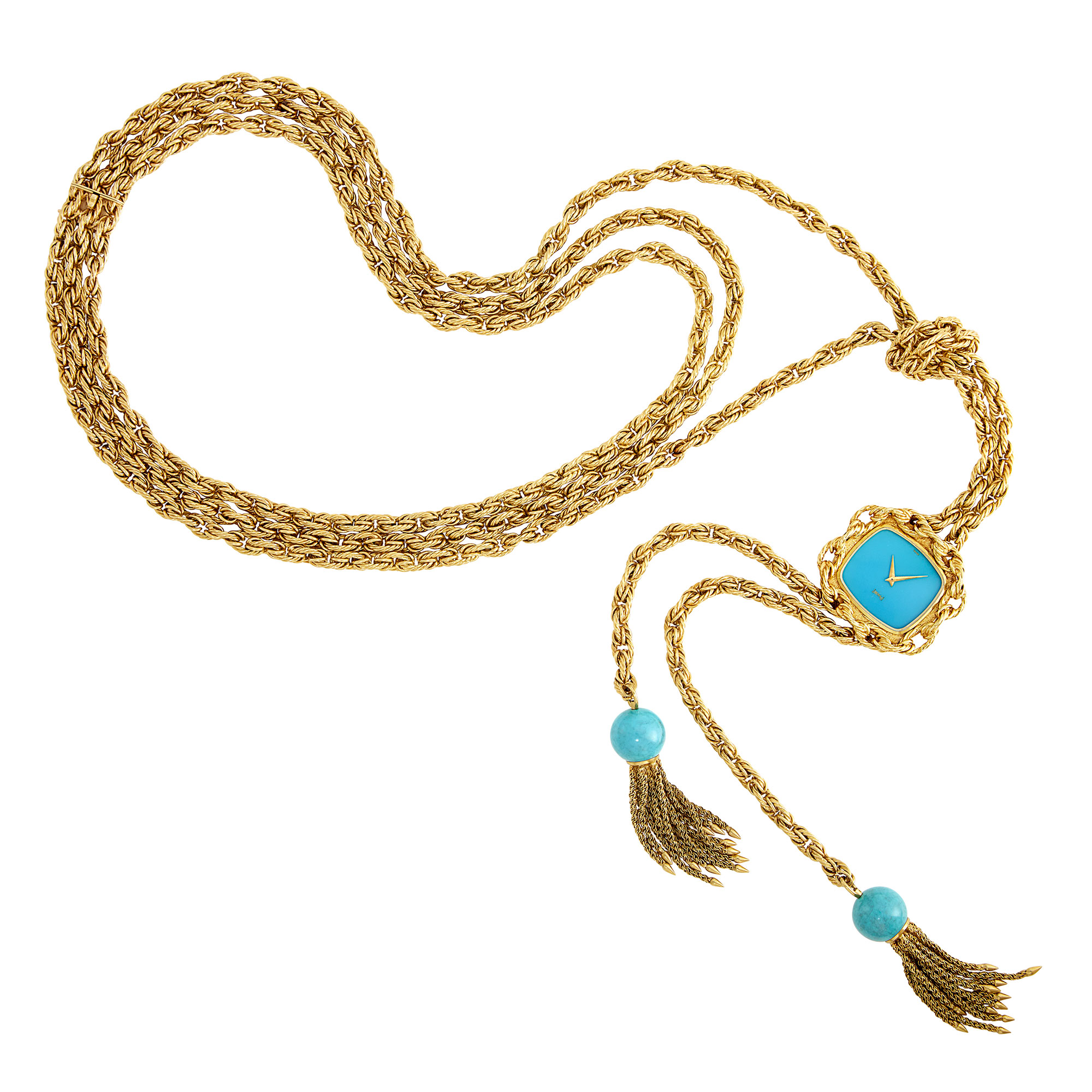 Lot image - Gold and Turquoise Lariat Pendant-Watch Necklace, Piaget