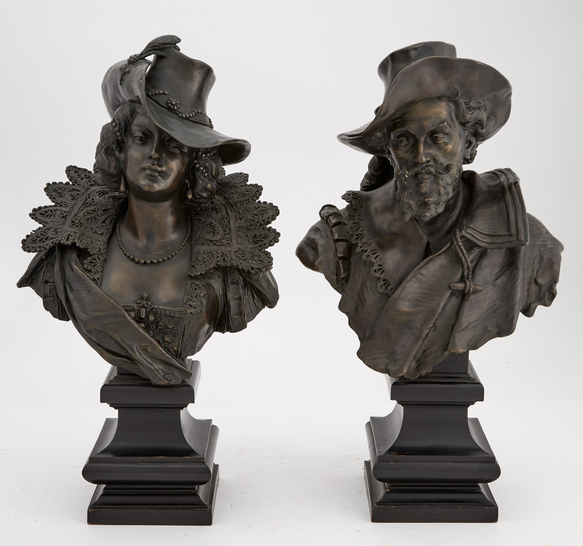 Lot image - Pair of Continental Patinated Bronze Busts of a Man and Woman in Renaissance Attire