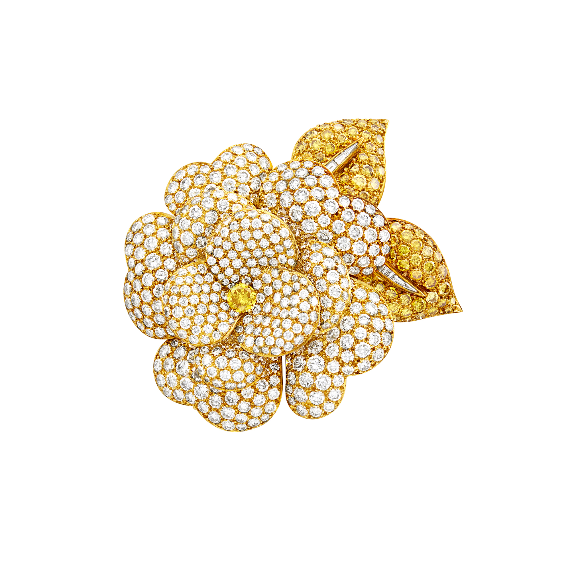 Lot image - Van Cleef & Arpels Gold, Colored Diamond and Diamond Gardenia Flower Clip-Brooch
