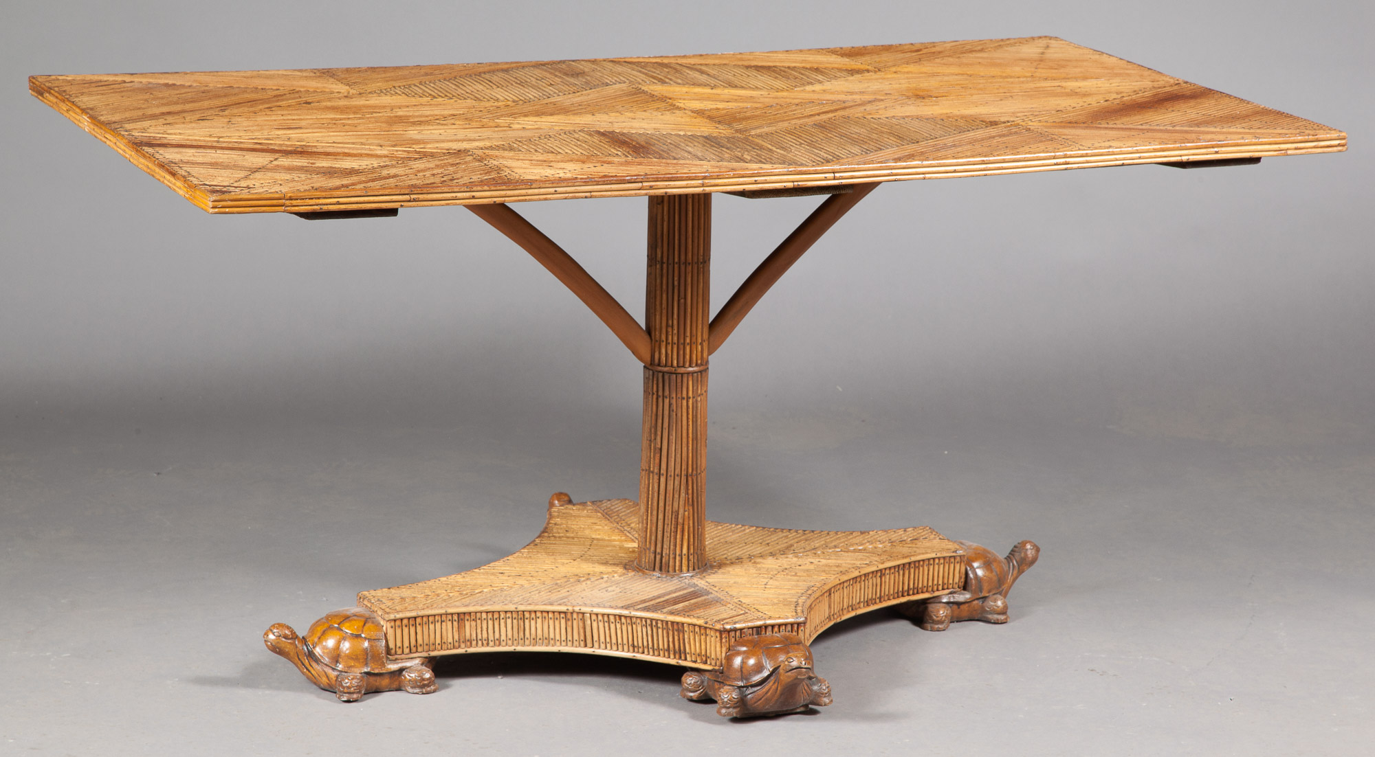 Lot image - Rattan Center Table with Carved Turtle Feet