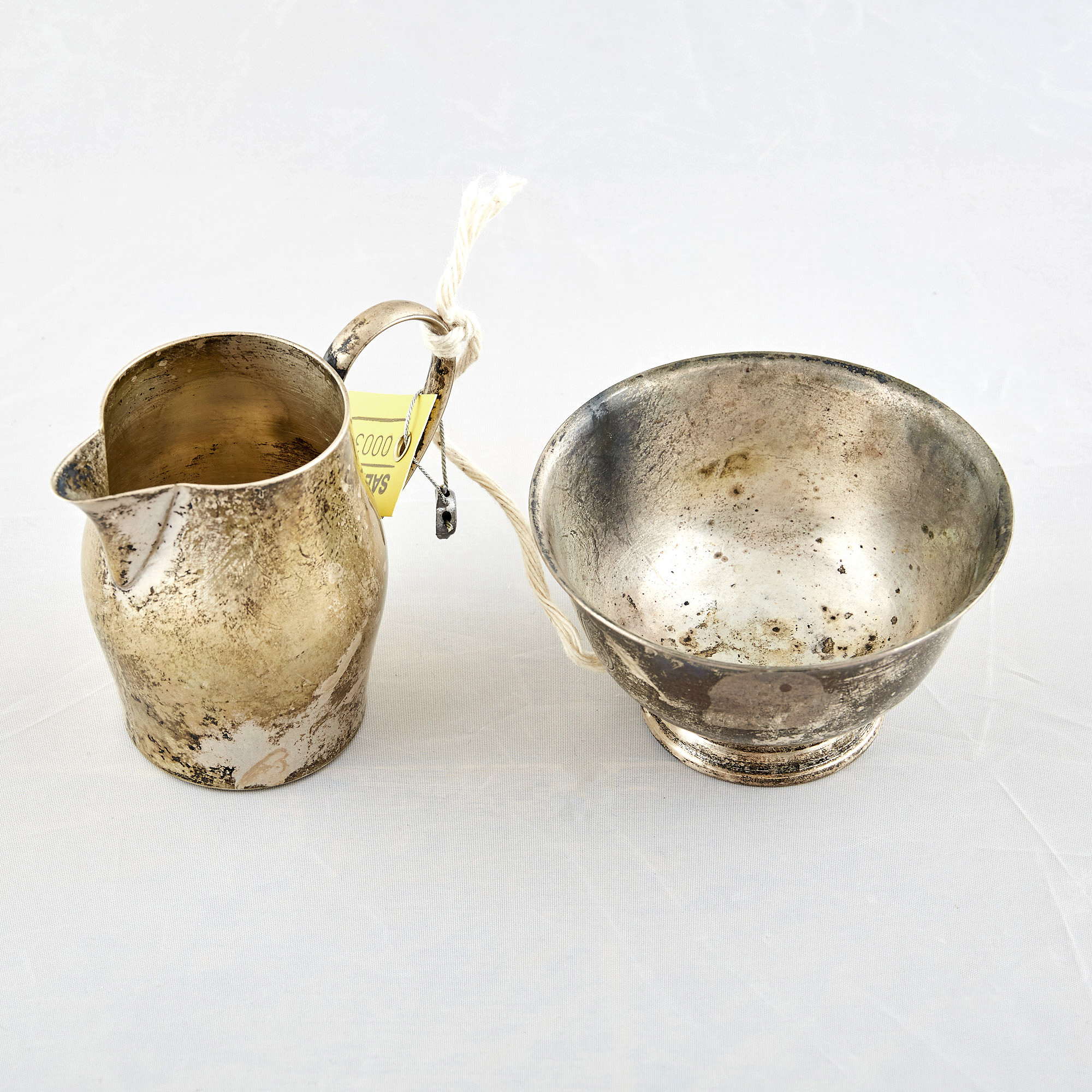 Lot image - Silver Creamer and Bowl, 7 ozs., International