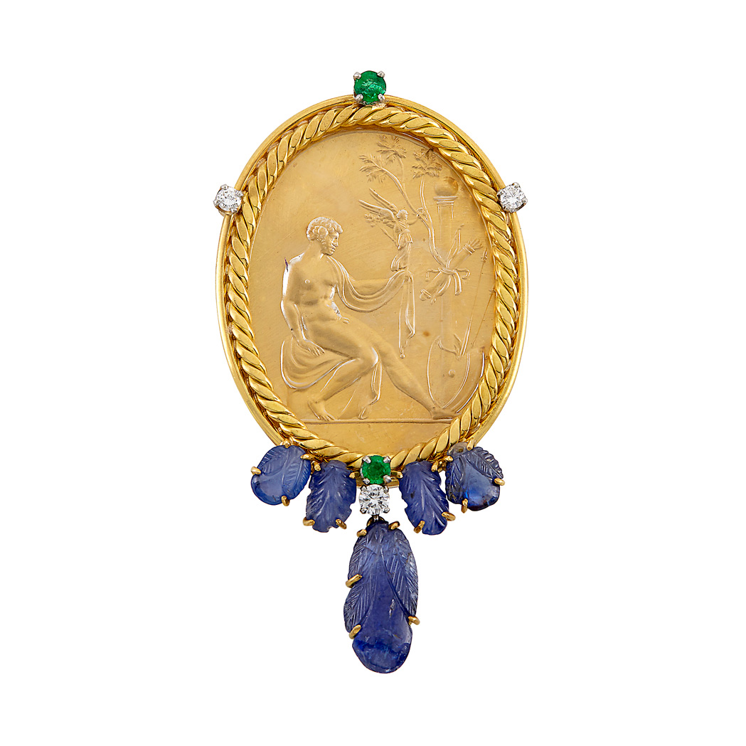 Lot image - Gold, Frosted Rock Crystal Intaglio, Carved Sapphire, Emerald and Diamond Clip-Brooch, Attributed to Marc Koven