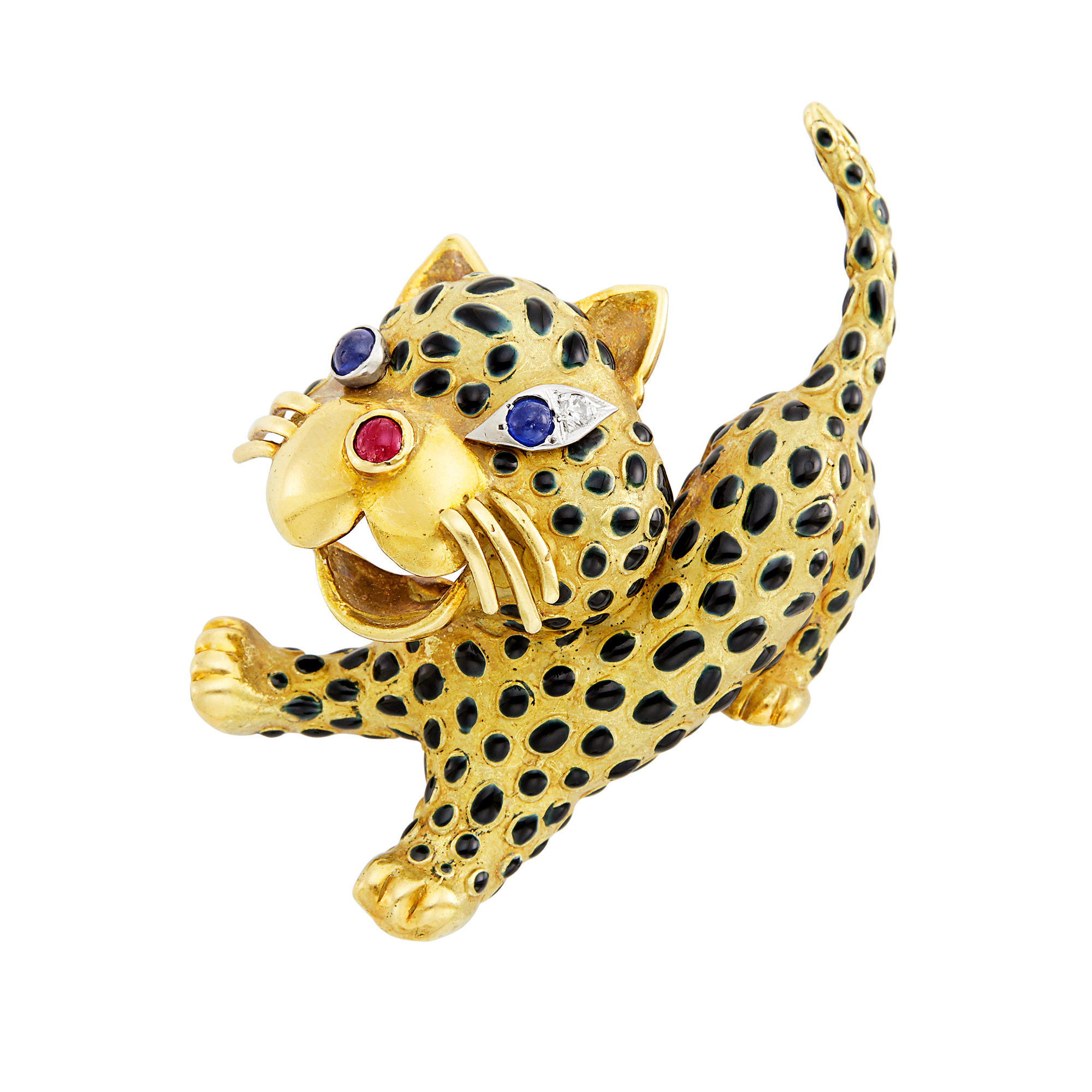 Lot image - Gold, Enamel, Cabochon Sapphire and Ruby and Diamond Leopard Brooch