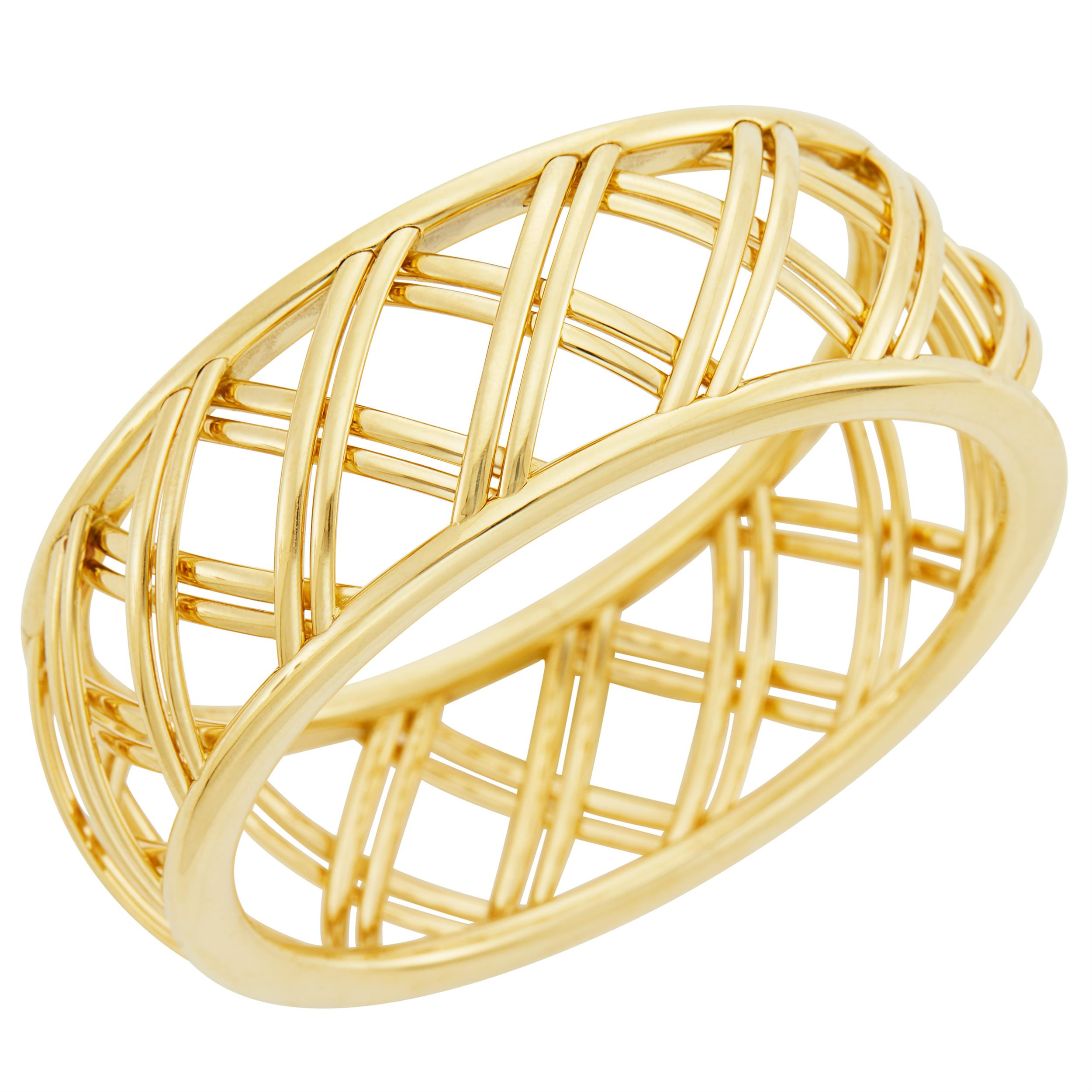 Lot image - Tiffany & Co., Paloma Picasso Gold Villa Paloma Trellis Bangle Bracelet