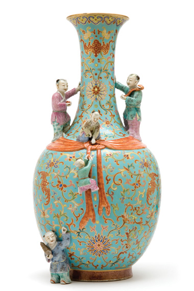 Lot image - Chinese Famille Rose Glazed Molded Porcelain Boys Vase