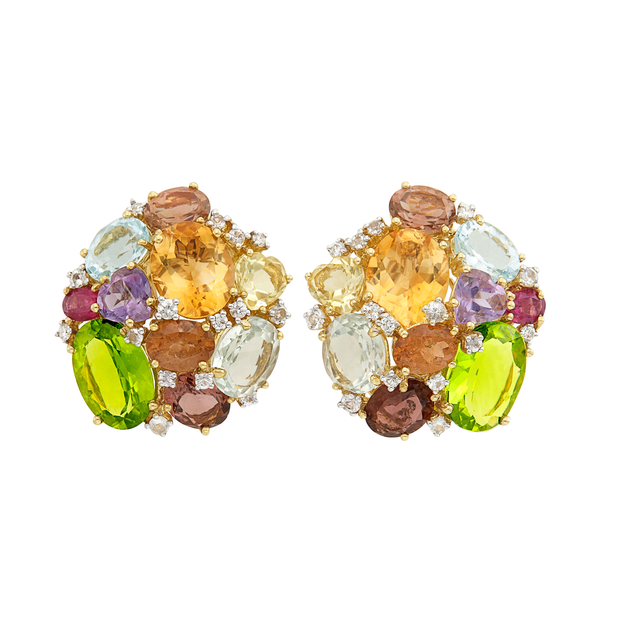 Lot image - Pair of Gold, Gem-Set, White Sapphire and Diamond Cluster Earclips