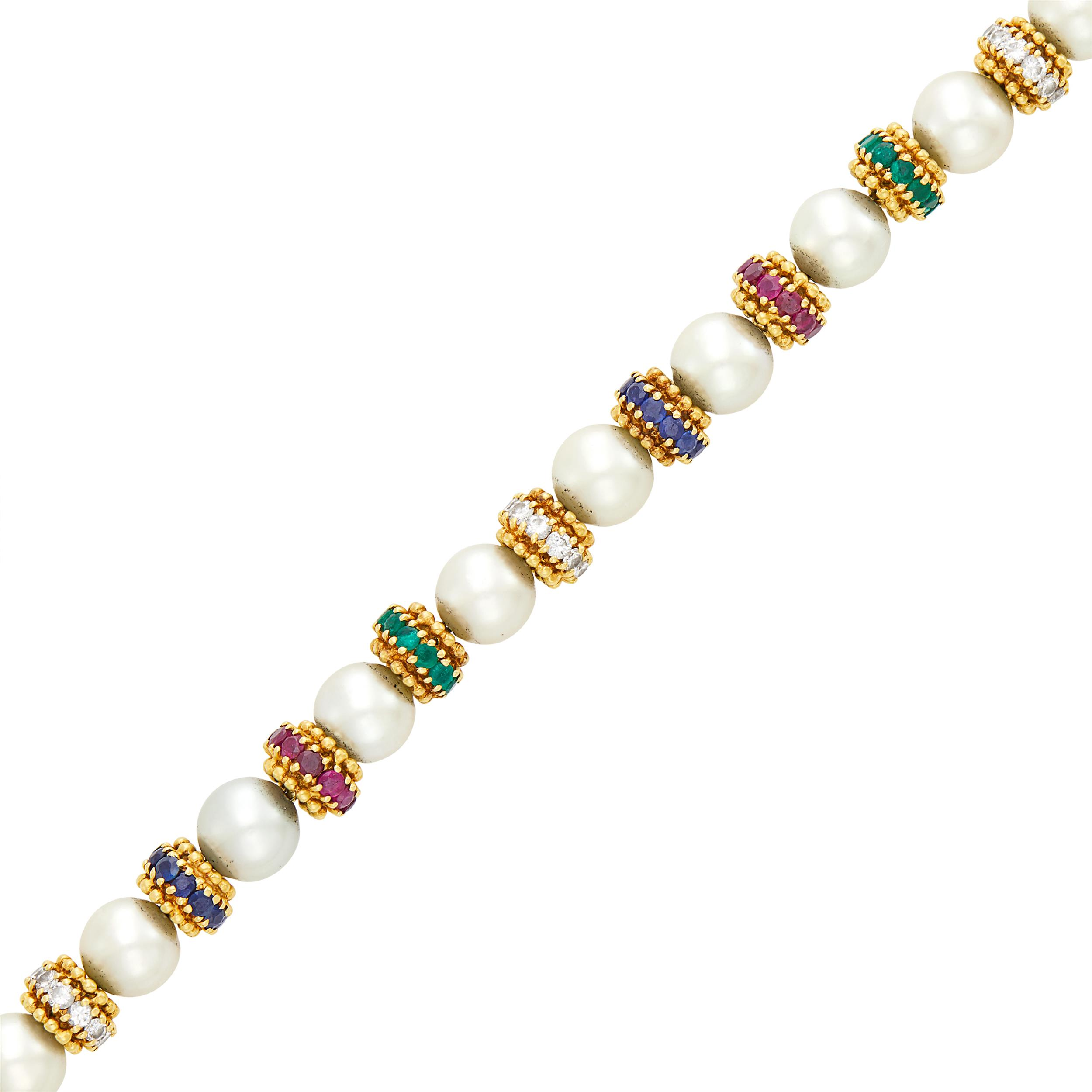 Lot image - Van Cleef & Arpels Gold, Cultured Pearl, Ruby, Emerald, Sapphire and Diamond Bracelet