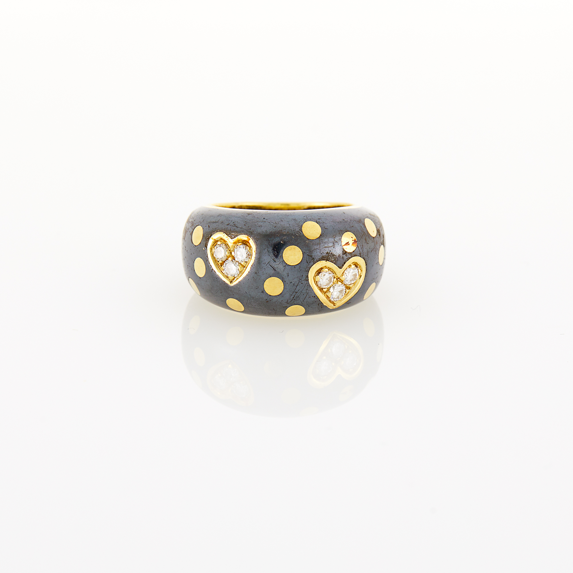 Lot image - Faraone Gold, Oxidized Silver and Diamond Ring