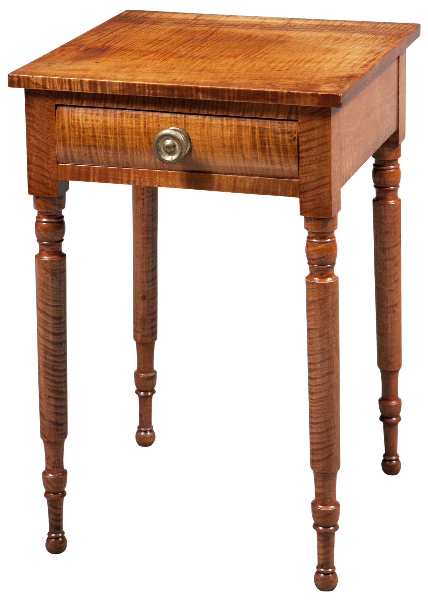 Lot image - Late Federal Tiger Maple Side Table