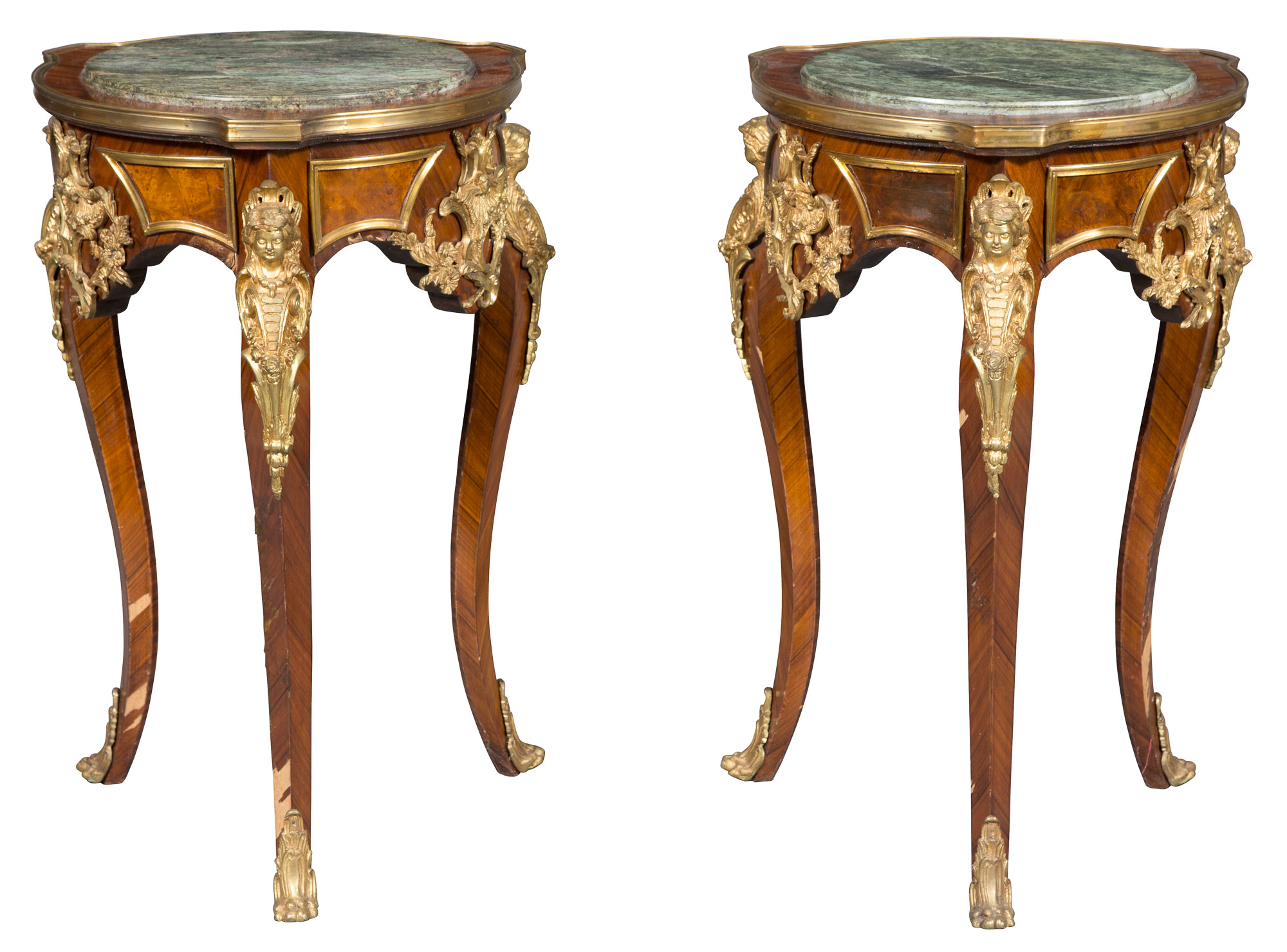 Lot image - Pair of Louis XV Style Gilt-Metal-Mounted Kingwood and Burrwood Marble Top Side Tables