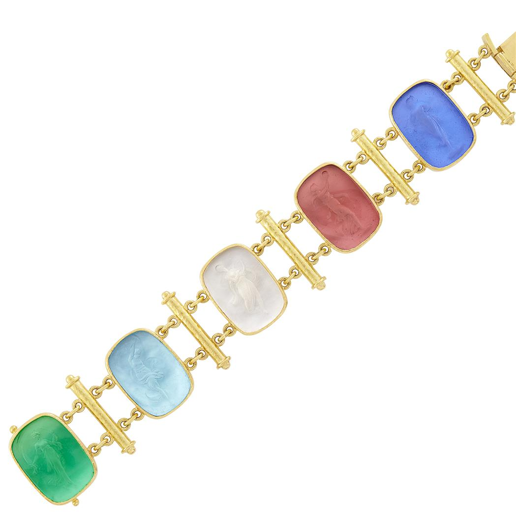 Lot image - Gold and Multicolored Glass Intaglio Muse Bracelet, Elizabeth Locke