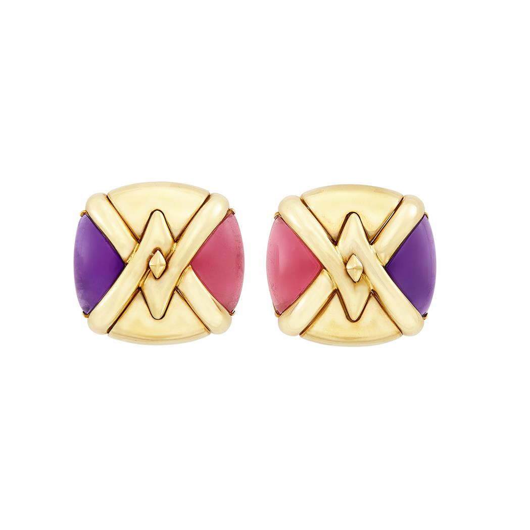Lot image - Pair of Gold and Cabochon Amethyst and Pink Tourmaline Earclips, Bulgari