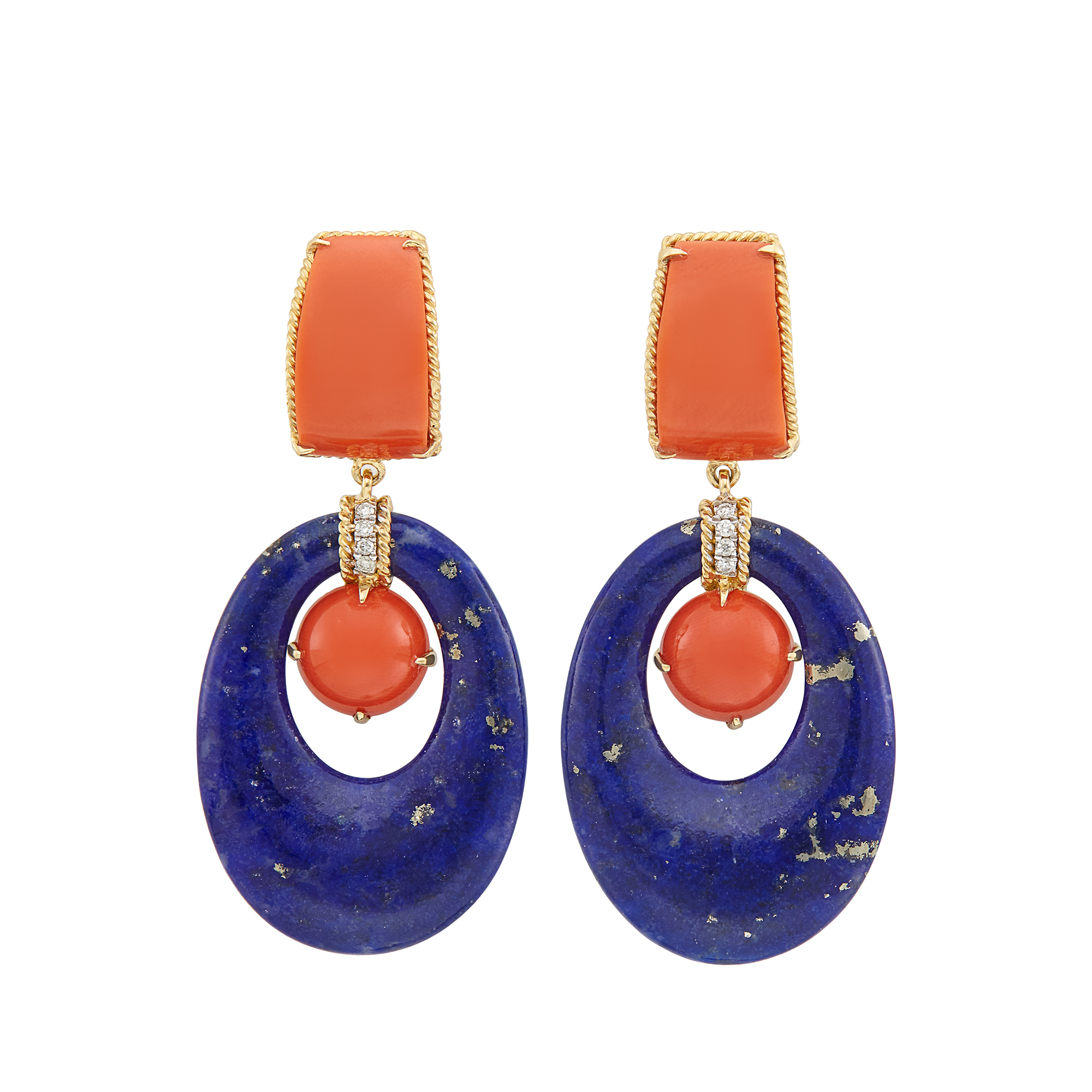 Lot image - Pair of Gold, Lapis, Coral and Diamond Pendant-Earclips