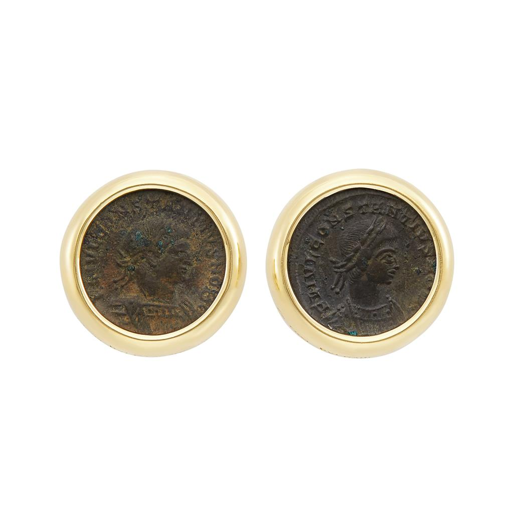 Lot image - Pair of Gold and Coin Earclips, Bulgari