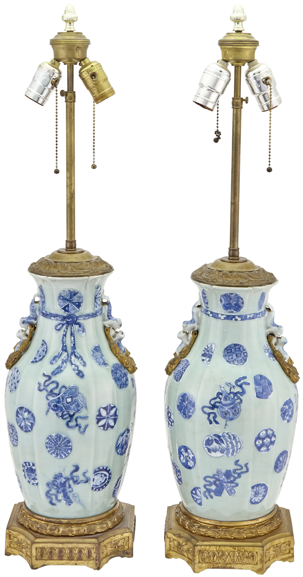 Lot image - Pair of Chinese Slip-Decorated, Ormolu Mounted Porcelain Vases Mounted as Lamps
