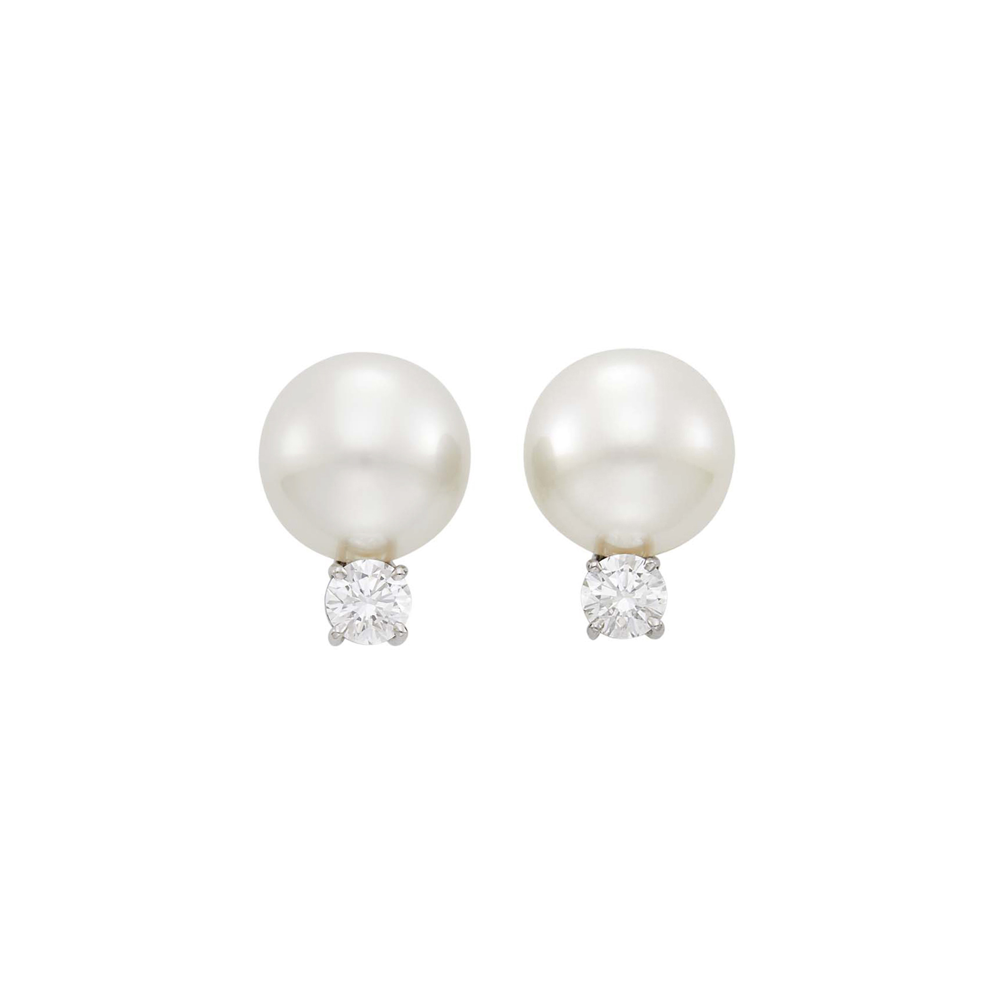 Lot image - Tiffany & Co. Pair of Platinum and South Sea Cultured Pearl and Diamond Earclips