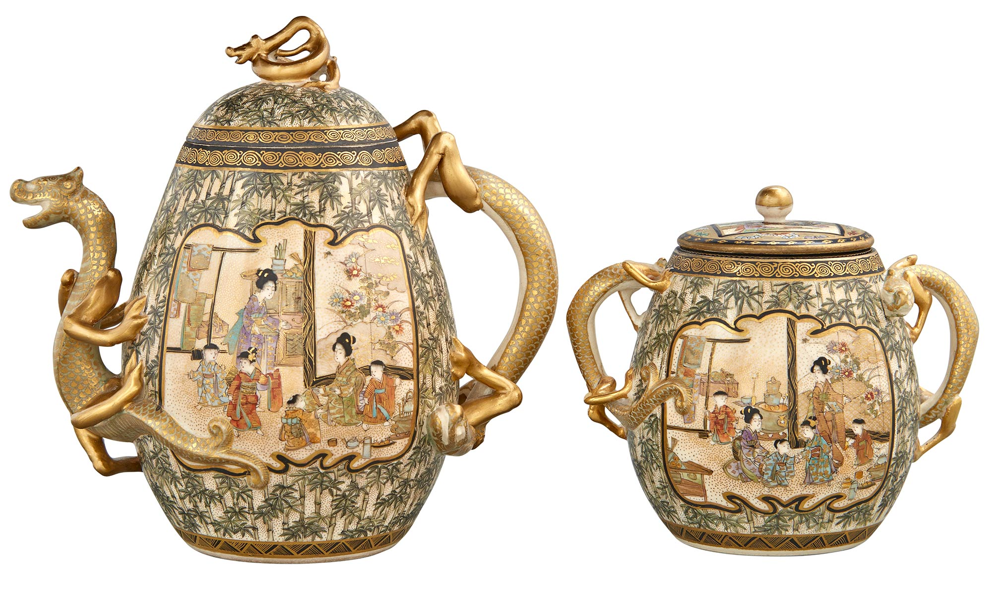 Lot image - Japanese Satsuma Covered Teapot and Creamer
