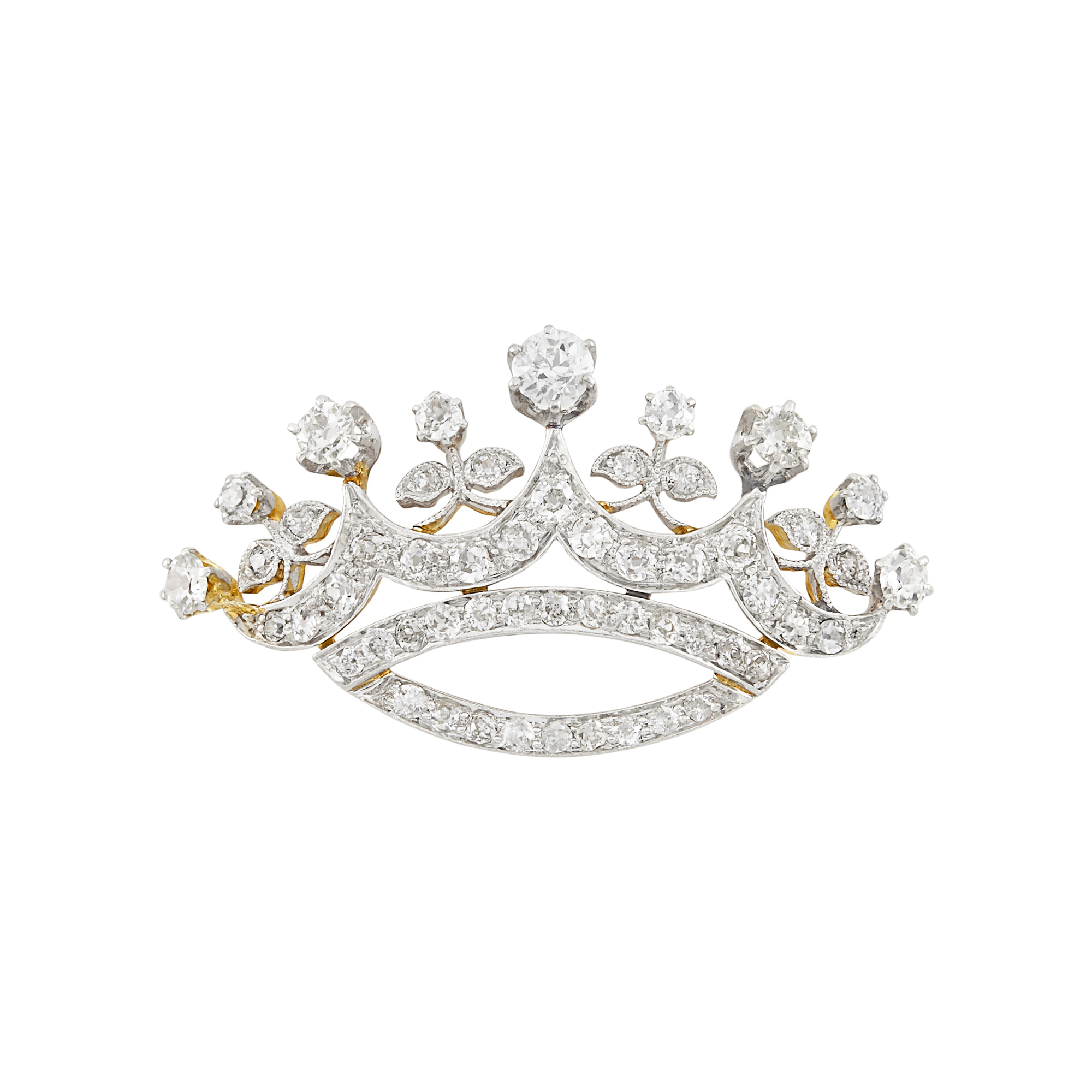 Lot image - Antique Platinum, Gold and Diamond Crown Pin
