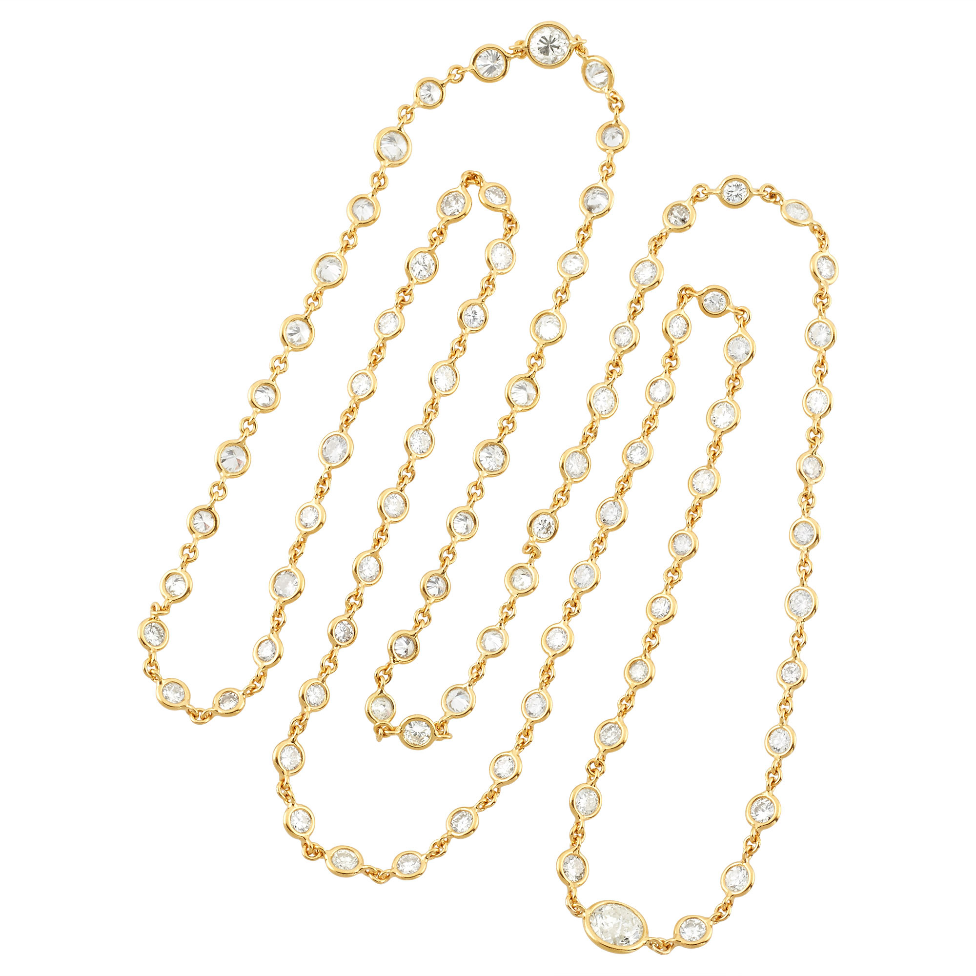 Lot image - Long Gold and Diamond Chain Necklace