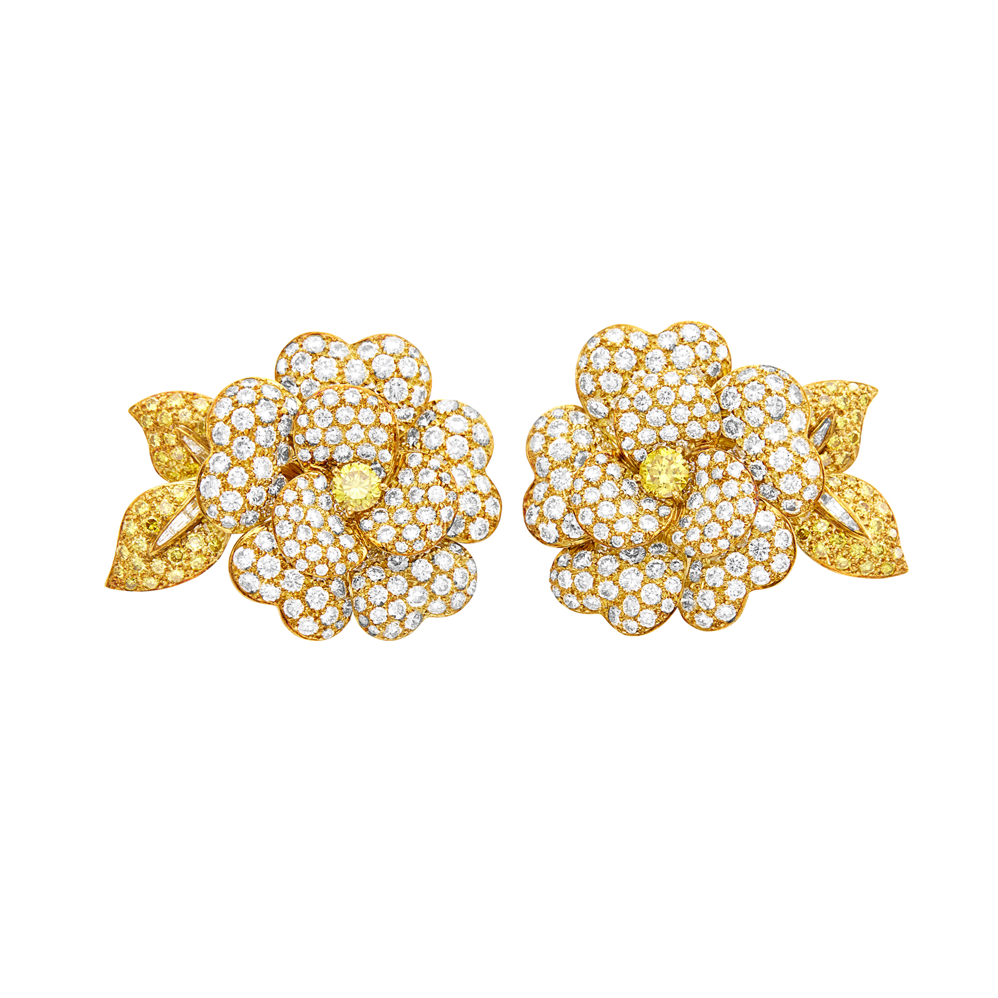 Lot image - Van Cleef & Arpels Pair of Gold, Colored Diamond and Diamond Flower Earclips