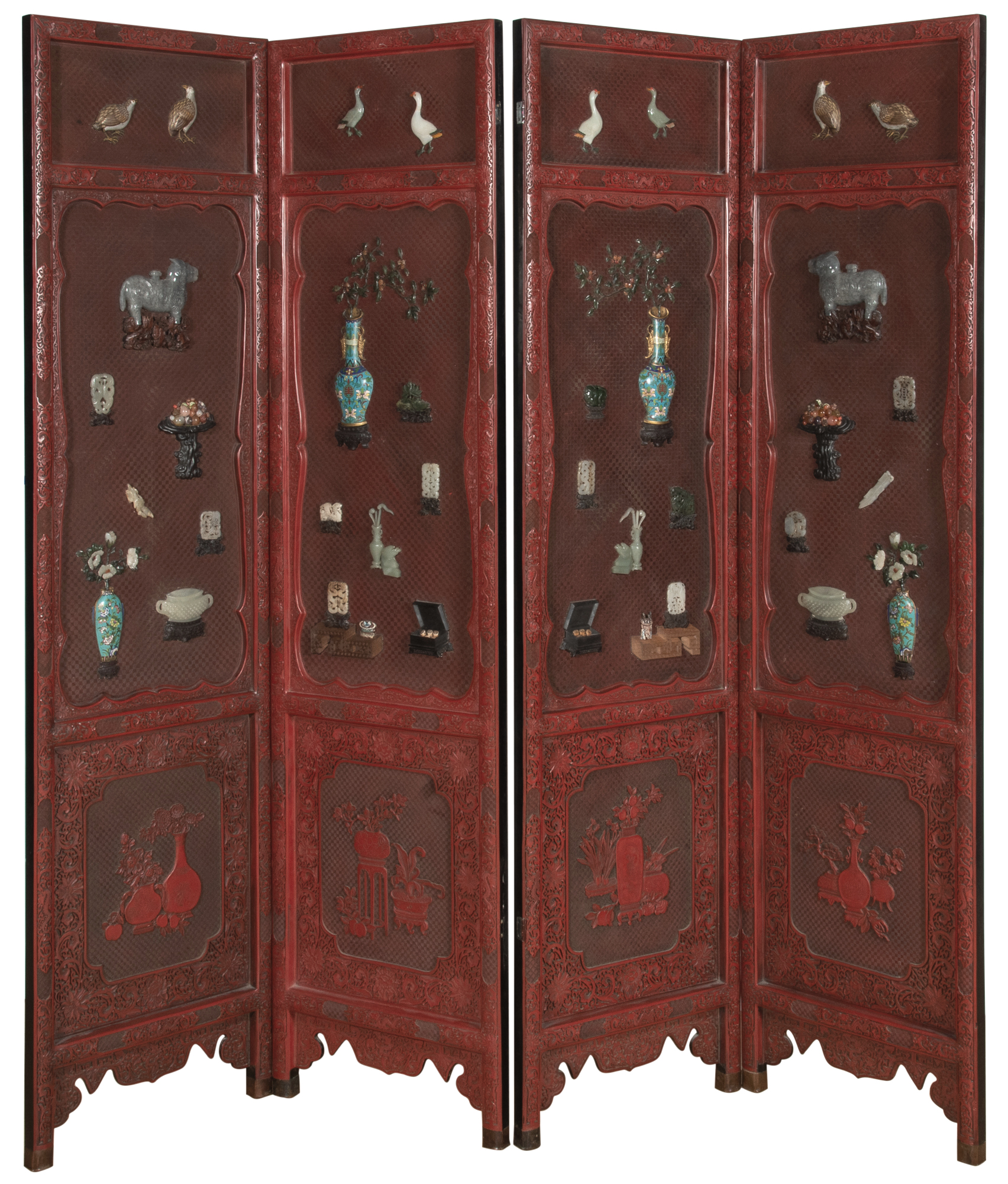Lot image - A Chinese Jade and Cloisonné Embellished Four Panel Cinnabar Lacquer Screen