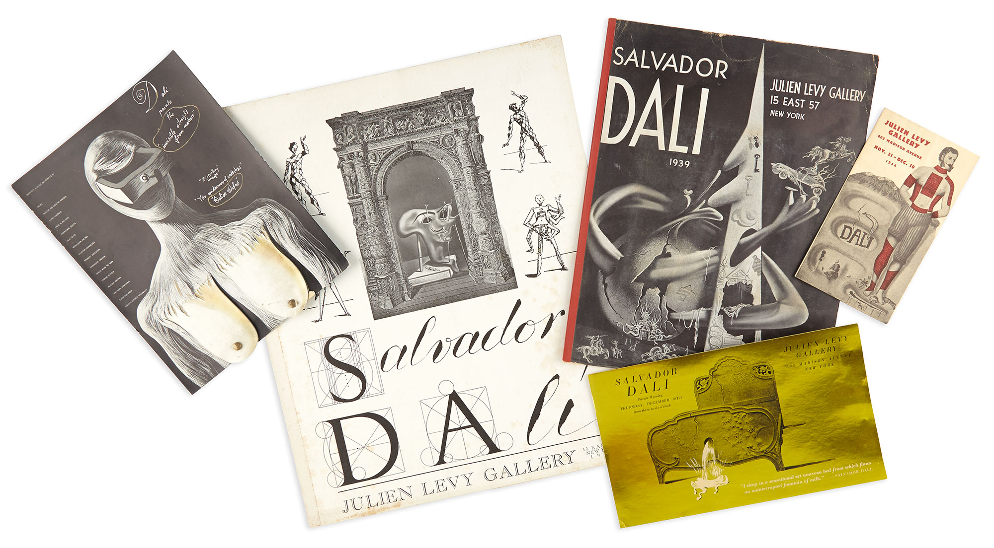 Lot image - DALI, SALVADOR  Group of interesting Julien Levy Gallery exhibition items.