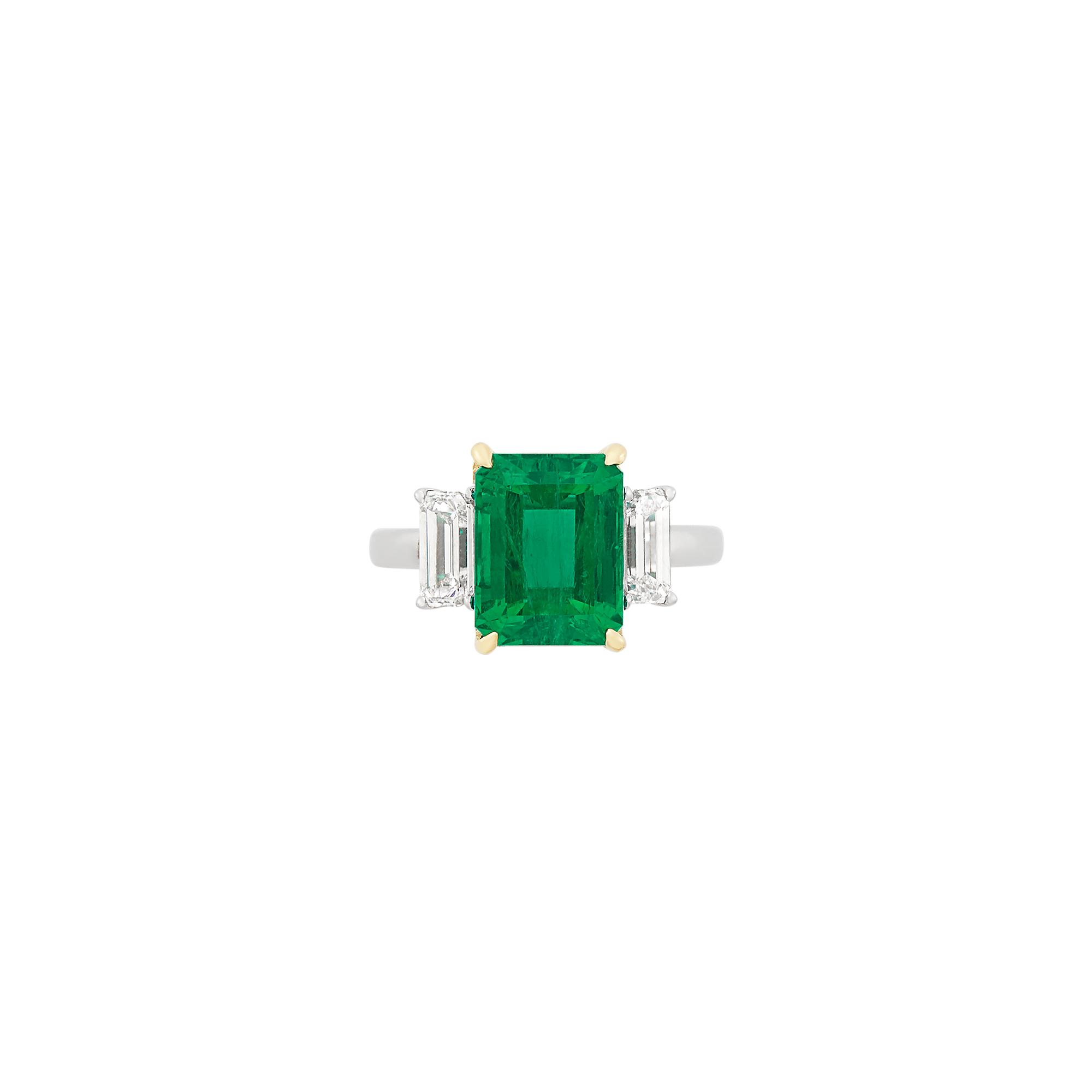 Lot image - Platinum, Gold, Emerald and Diamond Ring, Harry Winston